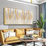 Versión horizontal Oleo que fluye Luz dorada Estantería de lujo Entrada del pasillo Fondo Pintura decorativa Pared del comedor 70x140cm (28x55in) Con marco