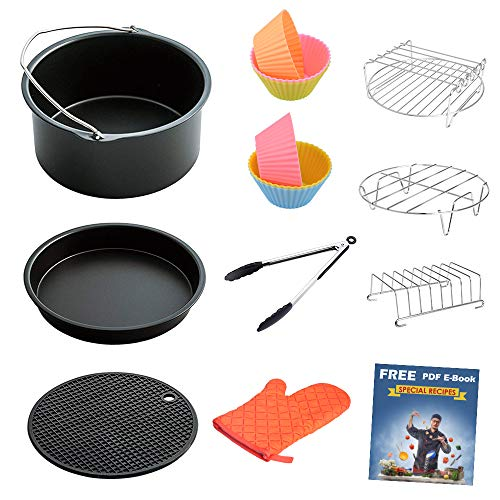 LATTCURE Air Fryer Accessories 11 PCS fit 4.2 qt to 5.8 qt, 8 Inch for 5.8 qt XL Air Fryer, Suitable for Philips, Cozyna, GoWise, and Power Air Fryer