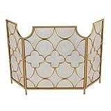Salvachispas Chimenea Pantalla 3 Panel decorativo de diseño - 30' por 51' - Negro / Oro - Hermoso Diseño for Moderno y clásico Casas - Puertas de seguridad - robusta de hierro forjado ( Color : Gold )