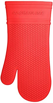 Rachael Ray Silicone Kitchen Oven Mitt with Quilted Cotton Liner Red
