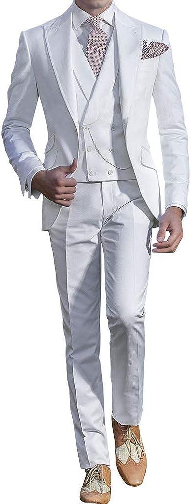 Michealboy Mens Suit Slim Fit 3 Piece Blazer Tuxedo Jacket Vest Pants for Party White