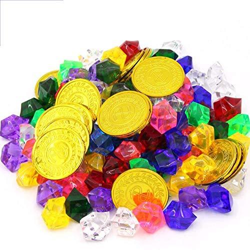 50pcs Pirat Münzen + 100pcs Piraten Edelsteine, Mehrfarbige Goldmünzen des Piratenschatz Spielzeugs und Piraten Schmucksteine Set für Kinder Piratenparty Mitgebsel