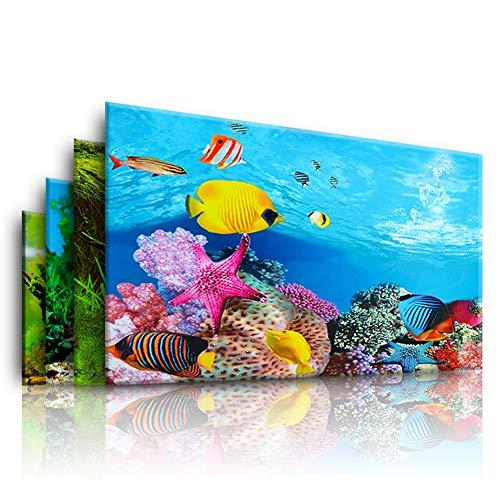Aquarium Hintergrund Poster Ozean-Muster selbstklebend Fisch Tank Hintergrund Aufkleber Wohnzimmer Zuhause Schlafzimmer – zufällige Farbe 40 x 62 cm