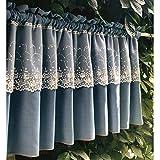 WFENG Demi-Rideau en Couches Dentelle Tissu Bleu Pur, Court Rideau Cantonnière de Fenêtre en Baie, Balcon et Armoire/A / W270×H80cm(106.3×31.2in)