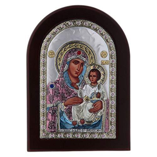 Holyart Icono Serigrafiado Virgen María Jerusalén de Plata, 15 x 21 cm (5.91 x 8.27 Inc.)