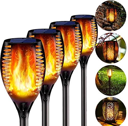 BIGFOX 4 Pcs Solare Fiamma Luci,4 in 1 Luci Solari Giardino IP65 Impermeabile,Lampada Solare da Giardino Luce Fiamma All aperto,Solare Esterno Decorativo di Effetto Luce per Patio, Prato, Corridoio