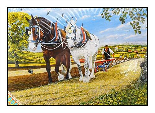 N / A James Hamilton 1000 T - Puzzle (72 x 51 cm), diseño de caballo de cosecha, paloma, granjero y trigo
