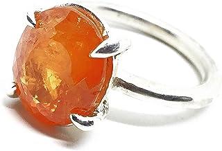 Prezioso anello con prezioso Granato Fanta Spersartite arancio naturale che misura 12,6 mm x 10,3 mm di 8,50 carati. Anello.