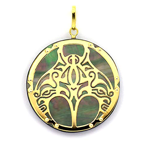 18K Gold and Tahitian Mother-of-Pearl Pendant - Diameter = 27 mm - Manta Ray - Contractual Photos - Shipping with insurance and online tracking number.