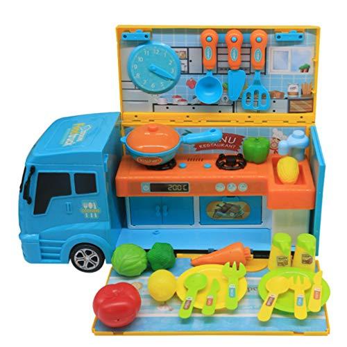 Kisangel 1 Juego de Camión de Comida para Niños Camión de Cocina con Olla de Cocina Juego de Accesorios de Cocina de Juguete para Niños Y Niñas
