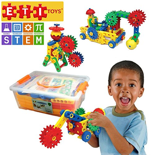 ETI Toys | STEM Learning | 109 Piece Educational Engineering Construction Blocks & Gears Building Set; Build Excavator, Horse & Buggy and More. Best Gift, Toy for 4, 5, 6, 7 Year Old Boys and Girls.