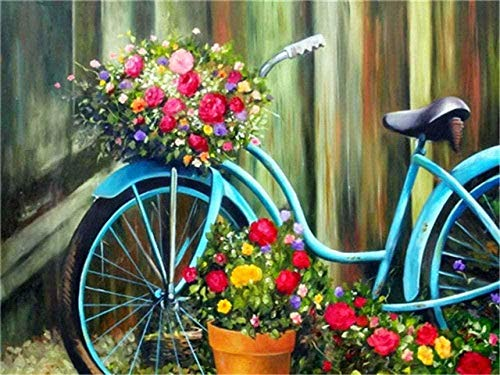 Kit De Pintura De Diamante 5D Para Adultos,Paisaje Bicicleta Flores Taladro Completo Cristal Diamante Bordado Pinturas Artes Kit De Punto De Cruz Para Decoración De La Pared Del Hogar 40×50cm