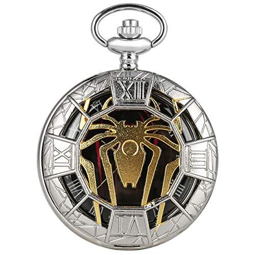 NOBRAND Pocket horloge, goud holle spin ontwerp kwarts pocket horloge zilveren hanger ketting klok beste gift jongen mannen dames nieuwe