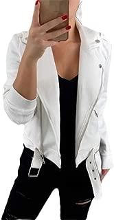 Macondoo Women Fall Winter Lapel Collar Motorcycle Coat Oblique Zipper Jackets