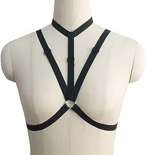 Amosfun Gothic Harness Lencería Sujetador Body Arnés Caged Bra Exotic Cosplay Strappy Bralette para Mujer Negro