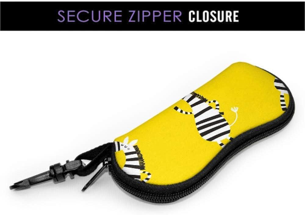 Cute Retro Cartoon Wild Animal Zebra Case Multiple Sunglasses Case For Eyeglasses Light Portable Neoprene Zipper Soft Case Case Glasses For Women