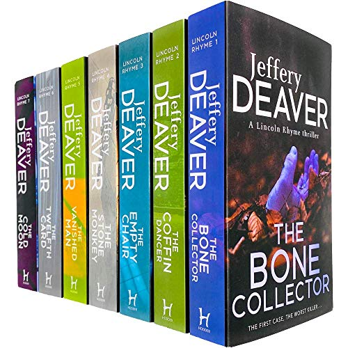 Lincoln Rhyme Thrillers Series Books 1 - 7 Collection Set by Jeffery Deaver (Bone Collector, Coffin Dancer, Empty Chair, Stone Monkey, Vanished Man, Twelfth Card & Cold Moon)