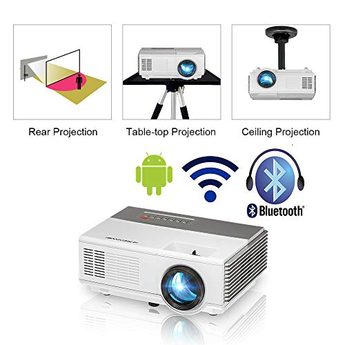Mini Portable Wireless Projector with Bluetooth HDMI Wifi, Android Smart Video Projector HD, 2800 Lumens LED LCD Home Outdoor Movie Game Projector Support 1080P for Phones TV Laptop DVD Mac USB PS4