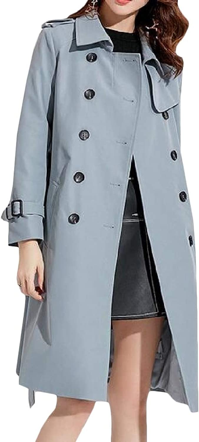 EtecredpowCA Women's England Lapel Midi Long Belted Double Breasted Overcoat Trench Coat