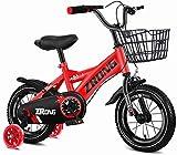 LIUXR Infantiles Bicicletas Bicicletas para niños 12/14/16/18 Pulgadas, Bicicleta para niños de Acero al Carbono con Rueda de Entrenamiento Regalo para niños y niñas de 2-13 años,Red_16'
