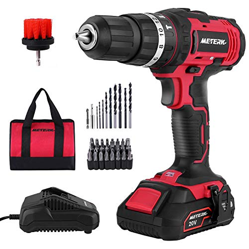 Cordless Drill Driver, Meterk 20V Cordless Electric Drill Driver with 1Pcs Li-Ion Batteries, Speed Drill Driver 1H Fast Charger