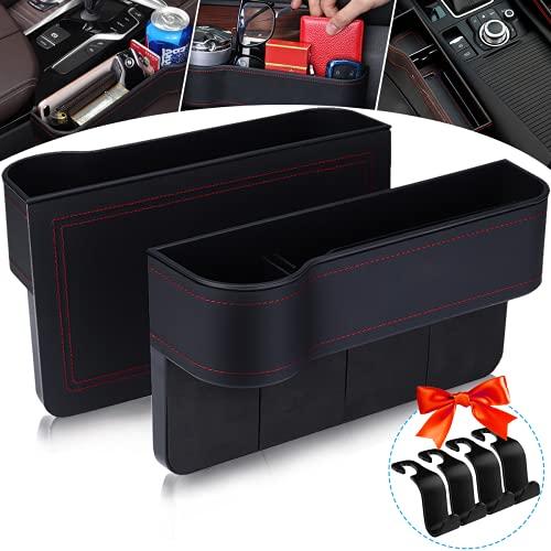 Jeteventy 2Pcs Auto Organizer Auto Aufbewahrungsbox mit Getränkehalter,Aufbewahrungsbox Auto,Autotassenhalter,PU Leder Universal Auto Seat Gap Organizer,Ablagefach Auto Autositz Organizer Schlitz Box