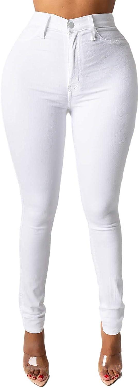 WUAI-Women Juniors Classic High Waisted Butt Lift Stretch Skinny Jeans Comfy Cute Stretch Boyfriend Denim Pants