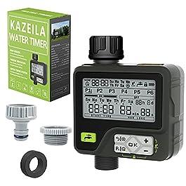 Kazeila Programmateur Arrosage Arrosage Automatique pour Jardin 6 programmes d'irrigation séparés avec contrôle Manuel…