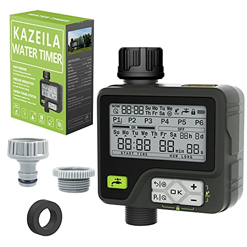 Kazeila Centralina Irrigazione Irrigatore Automatico Programmatore Irrigazione 6 programmi di irrigazione Separati con sensore Pioggia Controllo Manuale Impermeabile per Il Prato del Giardino
