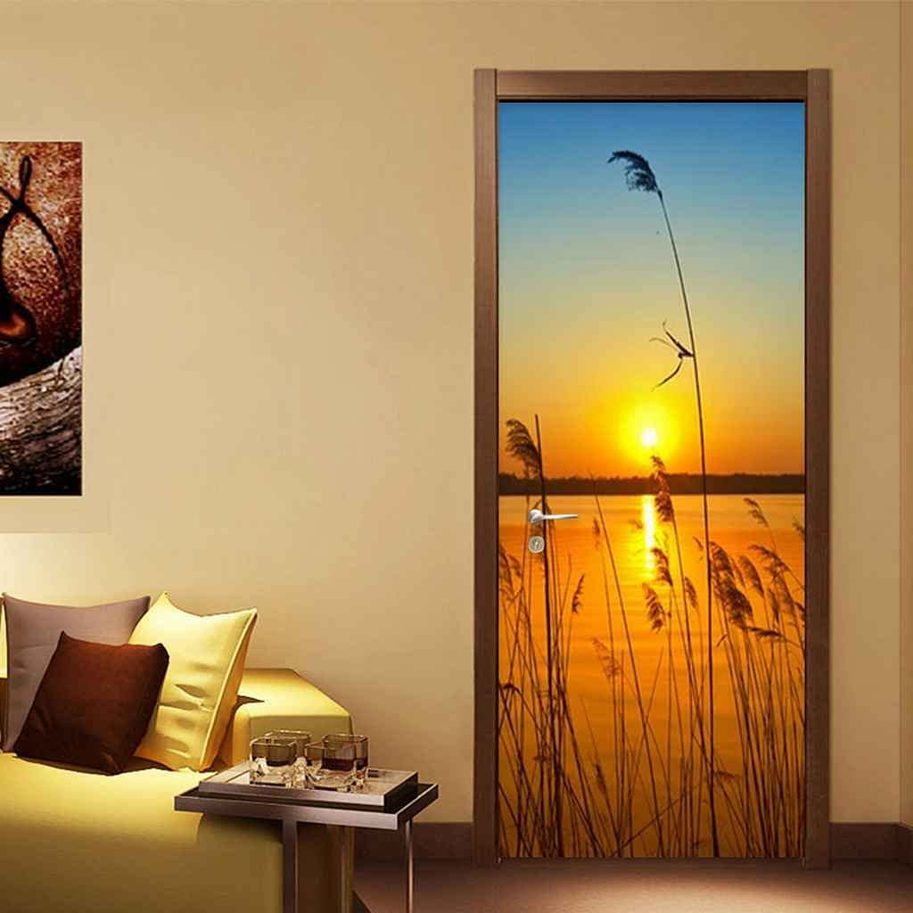 Deluxe Max 72% OFF BARFPY 3D Door Stickers Reed Sunset Poster Lake A View Wall