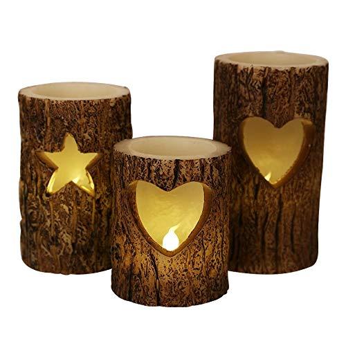 BURI LED-Windlichter Baumstamm 3er-Set Weihnachtskerzen Dekokerze Wachskerze Kerzen