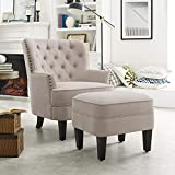 Rosevera Gustavo Collection Fabric Nailhead Club, Contemporary Accent Chairs, Beige with Ottoman