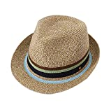 Summer Fashion Color Striped Top Hat Hand-Woven Straw Hat Small Fresh Print Seaside Holiday Beach Hat,A