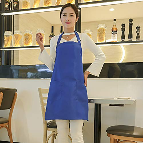 SUPERHUA Reines 100% Baumwolle Taschen-Schürze Küche Kochen BBQ-Chef Butcher Barber Höhe & Waist Adjustable (Blau)
