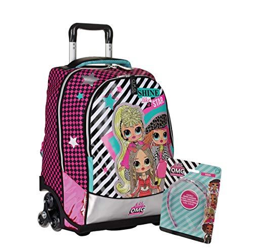 Trolley Schulrucksack LOL OMG Shine Like A Star mit Visier / Brille GRATIS + Schlüsselanhänger mit Knebelspiel + Gratis Glitzerstift + Lesezeichen