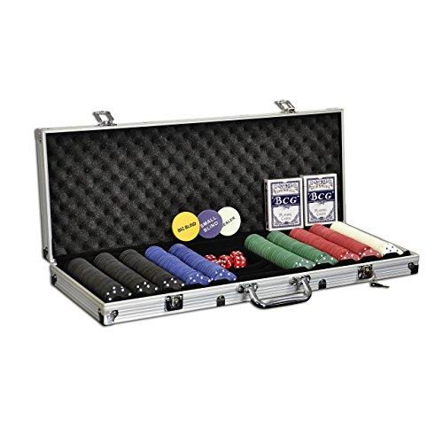 Nexos Pokerkoffer Starter-Poker-Set mit 500 Poker-Chips im Alu Koffer mit 2 Schlüssel Silber inkl. 2 Kartendecks 1 Dealer Button 5 Würfel