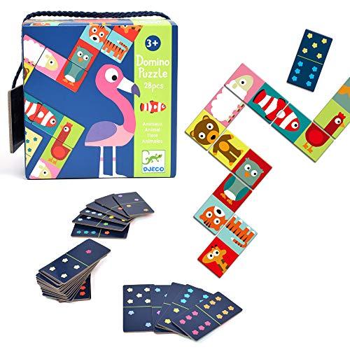 DJECO- Juegos familiaresDominóDJECOEducativos Domino Animo-Puzzle, Multicolor (30)