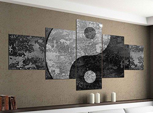 Leinwandbild 5 tlg. 200cmx100cm Yin & Yang Symbol Feng Shui Zen schwarz weiß Bilder Druck auf Leinwand Bild Kunstdruck mehrteilig Holz 9YA2432, 5Tlg 200x100cm:5Tlg 200x100cm