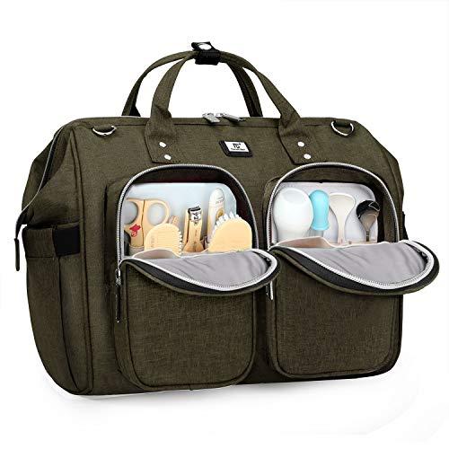 Pomelo Best Wickeltasche mit wasserdicher Wickelunterlage und 2 Kinderwagen Haken verstellbare Schultergurt multifunktionale Umhängetasche Reisetasche für Unterwegs (Olivgrün)