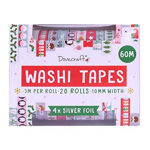 Dovecraft Kerst Washi Tape Box-20 Ontwerpen – Brights-10mm Breedte-3m Rolls-Inclusief Opbergdoos voor Ambacht, briefpapier, Journaling, Home Decor, Papier, Multi kleuren, One Size