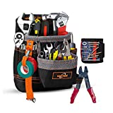 APROTII Tool Pouch,Heavy Duty Professional Electrician Tool Pocket Pouch Belt,with Adjustable Waist Strap,