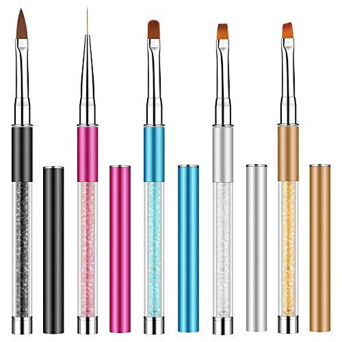 Ebanku 5 teilig Nagel Gel Pinsel Set für UV-Gel und Acrylfingernägel, Nagel Kunst Malerei Zeichnung PinselNailart Nagelzubehör Nageldesign Modellage Pediküre Maniküre