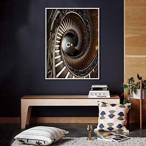 FA LEMON Pintura Abstracta de la Lona Arte de la Pared Escaleras de Caracol Carteles e Impresiones Cuadro Decoración para el hogar-60x80cmx1 Piezas sin Marco