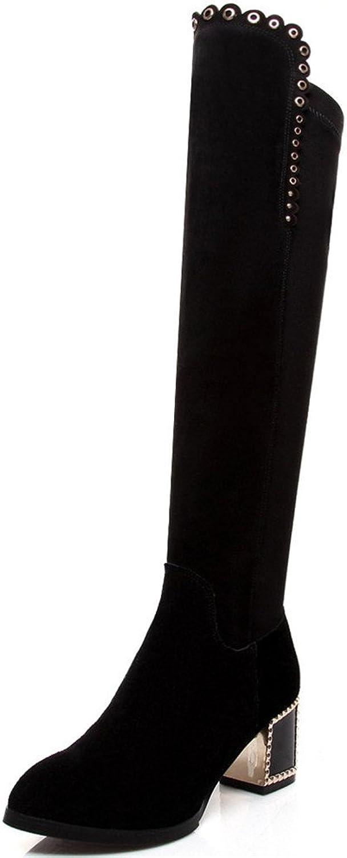 Nine Seven Suede Leather Women's Round Toe Chunky Heel Side Zip Handmade Fashion Knee High Boots