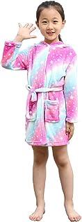 TwoShawl Boys Girls Bathrobes,Unisex Children's Plush Soft Flannel Robes Hoodie Unicorn Sleepwear, 2Years - 11Years
