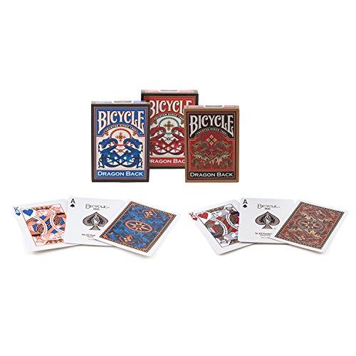 vélo de dragon de retour des cartes à jouer 3 deck set 1 or, 1 bleu et 1 rouge de pont Bicycle Dragon Back Playing Cards 3 Deck Set 1 Gold, 1 Blue & 1 Red Deck