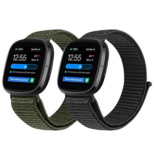 Vodtian Correa ajustable de nailon compatible con Fitbit Versa 3/Fitbit Sense Watch, correa de repuesto deportiva para hombre y mujer (negro oscuro + verde militar)