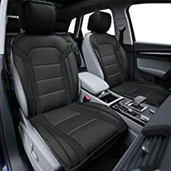 Faux leather with center perforation and metallic sheen of accents on the side made this a unique design and Offers more comfort breathability Side less design allows integrated airbag compatibility and supports built-in seatbelt holders Non-slip bac...