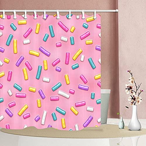 Bunte Süßigkeiten Duschvorhang für Badezimmer,wasserdichtes & schnelltrocknendes Polyester,hochauflösendes Muster,12Haken,180X180cm,Heimtextilien