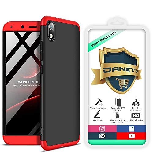Kit Capa Capinha Anti Impacto 360 Full Para Xiaomi Redmi 7a Com Tela 5.45Polegadas - Case Acrílica Fosca Com Película De Vidro Temperado - Danet (Preto com vermelho)